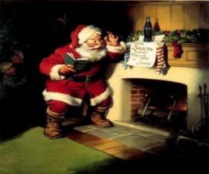 Puzzle de Papá Noel leyendo una nota que cuelga del hogar del fuego