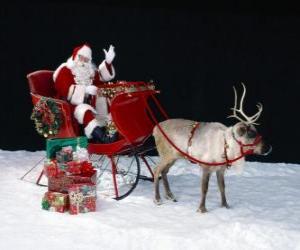 Puzzle de Papá Noel saludando con la mano desde el trineo mágico