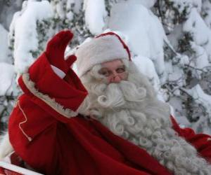 Puzzle de Papá Noel saludando con la mano