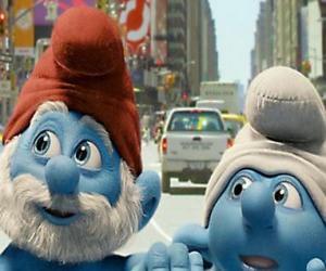 Puzzle de Papá Pitufo y Tontín, por las calles de Manhattan. - Los Pitufos, película -