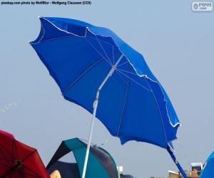 Puzzle de Parasol de playa azul