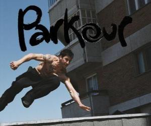 Puzzle de Parkour, es una disciplina o filosofía que consiste en desplazarse de un punto a otro lo más fluidamente posible