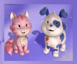 Puzzle de Pastel es el perrito de Tarta de Fresa o Rosita Fresita con Cremita es el gatito de Frutillas