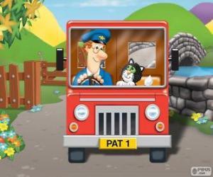 Puzzle de Pat el cartero con su gato Jess en el reparto del correo