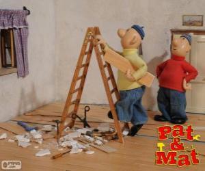 Puzzle de Pat y Mat realizando un trabajo