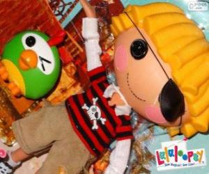 Puzzle de Patch Treasurechest de Lalaloopsy con su mascota, un loro