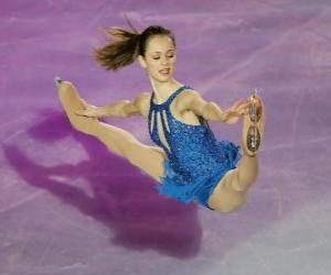 Puzzle de Patinadora en una figura de patinaje artístico sobre hielo