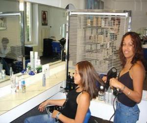 Puzzle de Peluquera peinando y secando el pelo a una clienta en el salón de belleza o peluquería
