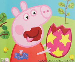 Puzzle de Peppa Pig comiendo un huevo
