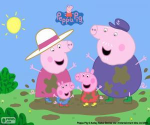 Puzzle de Peppa Pig con su abuelos