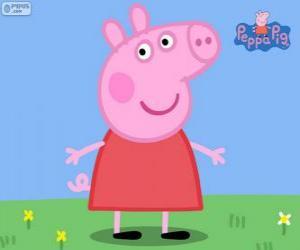 Puzzle de Peppa Pig con un vestido rojo