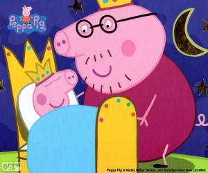 Puzzle de Peppa Pig en su cama