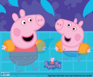 Puzzle de Peppa Pig va a nadar