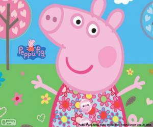 Puzzle de Peppa Pig vestido de flores