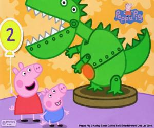 Puzzle de Peppa Pig y el dinosaurio