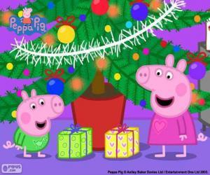 Puzzle de Peppa Pig y George Navidad