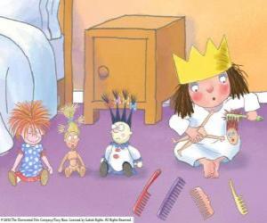 Puzzle de Pequeña Princesa peinando a sus muñecos