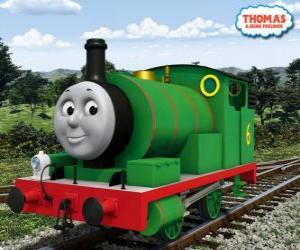 Puzzle de Percy, la más joven locomotora, de color verde y con el número 6. Percy es el mejor amigo de Thomas