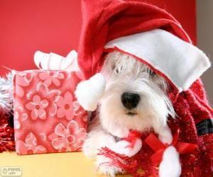 Puzzle de Perro con un sombrero de Papá Noel y su regalo
