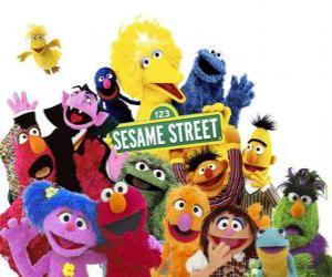 Puzzle de Personajes principales de Sesame Street o Barrio Sésamo