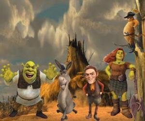 Puzzle de Personajes principales, en la última película Shrek felices para siempre o Shrek para siempre