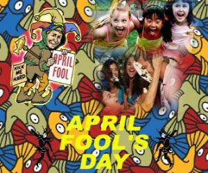 Puzzle de Pescado de Abril o del Día de los Bufones de Abril, fiesta que se celebra el 1 de abril dedicada a las bromas en muchos países