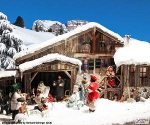 Puzzle de Pesebre con nieve