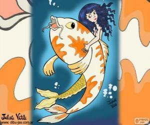 Puzzle de Pez y sirena, un dibujo de Julieta