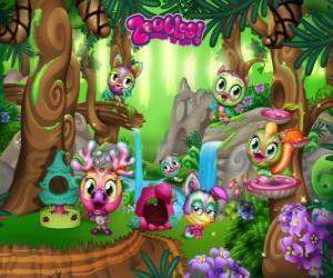 Puzzle de Pinegrove donde los Zoobles se esconden, corren, nadan y juegan