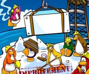 Puzzle de Pingüinos trabajando en la construcción en el Club Penguin