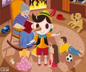 Puzzle de Pinocho. La marioneta de madera que se convierte en un niño