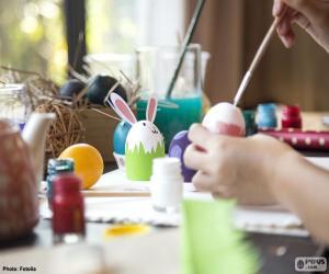 Puzzle de Pintar huevos de Pascua
