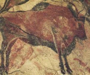 Puzzle de Pintura rupestre representando un búfalo en la pared de una cueva
