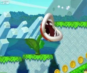 Puzzle de Planta piraña. Flor piraña. Planta carnívora de la série de Mario
