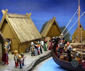 Puzzle de Poblado Vikingo de Playmobil