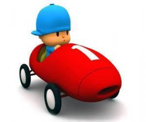 Puzzle de Pocoyó conduciendo un coche de carreras
