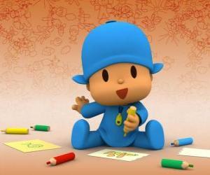 Puzzle de Pocoyó sentado en el suelo y haciendo un dibujo en una hoja de papel