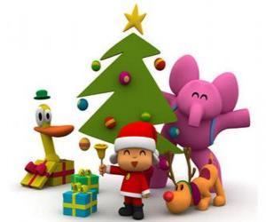 Puzzle de Pocoyó y sus amigos en Navidad