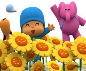 Puzzle de Pocoyó y sus amigos en un campo de girasoles