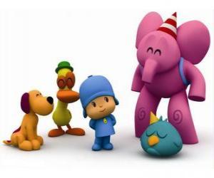 Puzzle de Pocoyó y sus amigos: Pato, Elly, Loula o Lula y Pajaroto o Pajarito dormilón