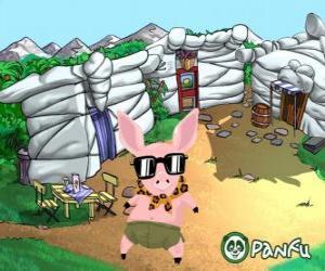 Puzzle de Pokopet Tork, un cerdo con gafas de sol, una mascota de Panfu