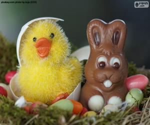 Puzzle de Pollito y conejito de Pascua
