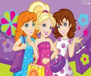 Puzzle de Polly Pocket de compras con sus amigas