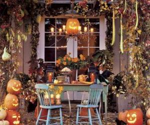 Puzzle de porche adornada para halloween