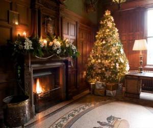 Puzzle de Precioso hogar del fuego decorado para las celebraciones de Navidad