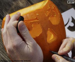 Puzzle de Preparando la calabaza de Halloween