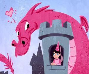 Puzzle de Princesa en su castillo observada por un gran dragón