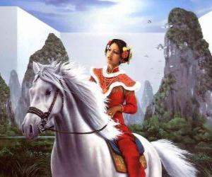 Puzzle de Princesa montando a un precioso caballo