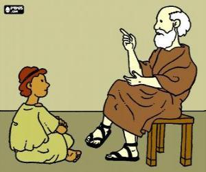 Puzzle de Profesor o maestro, sentado en un taburete, enseñando a un joven muchacho, sentado en el suelo