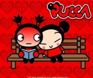 Puzzle de Pucca y Garu sentados en el banco del parque